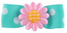 """#bathing 2"""" grosgrain polka dot hair bow in aqua, with light #pink flower. Partially lined in velvet ribbon with a unique #non-slip grip for secure hold."""
