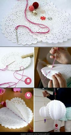 Ornaments, made from paper doilies The Effective Pictures We Offer You About DIY Fabric Flowers bouquet A quality picture can tell you many things. Paper Doily Crafts, Doilies Crafts, Paper Doilies, Diy Paper, Fabric Crafts, Crochet Doilies, Cupcake Paper Crafts, Diy Flowers, Papercraft