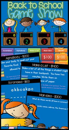 Back to School Jeopardy style game show! Want to have some FUN on those first few days of school? Here is a suggestion: a GAME SHOW!! Five fun categories that will get your kids laughing, thinking, and up out of their chairs for a really good time. Make sure you have your camera ready! $
