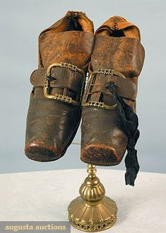 Gentleman's Shoes, Early 18th Century - Black leather, square toes, red painted wood stack heels, brass buckles