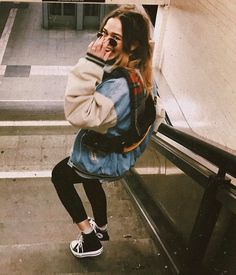 nyc subway station - denim bomber jacket and black high top chuck taylors Street style fashion