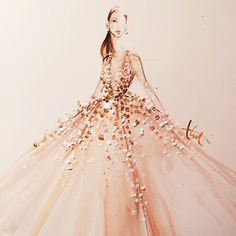 Jennifer Lopez wearing Elie Saab l Using only Q-tips the most beautiful Oscar 2015 gowns painted by Katie Rogers
