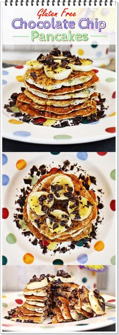 Gluten Free Chocolate Chip Pancakes - Fab Food 4 All Gluten Free Recipes For Breakfast, Gluten Free Breakfasts, Brunch Recipes, Dessert Recipes, Pancake Recipes, Budget Recipes, Family Recipes, Clean Recipes, Gluten Free Chocolate