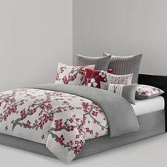N Natori Cherry Blossom Queen Comforter Set   HSN