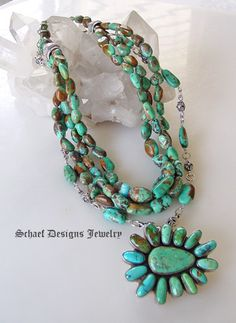 Federico Turquoise Cluster pendant on Schaef Designs Royston Turquoise multi strand necklace