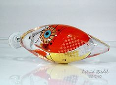 red And yellow hollow lampwork free shape focal   by astrid riedel