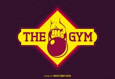 Fitness logo or label featuring an illustrated arm with a kettlebell. Design also says the gym. Great for any gym or fitness center as a logo, emblem,