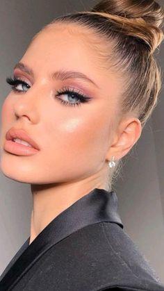 Classy Makeup, Fancy Makeup, Formal Makeup, Glam Makeup Look, Nude Makeup, Skin Makeup, Beauty Makeup, Natural Prom Makeup For Brown Eyes, Brown Smokey Eye Makeup