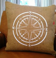 White Compass  Burlap 18x18 Decorative Pillow Cover by StacieAnn, $25.00