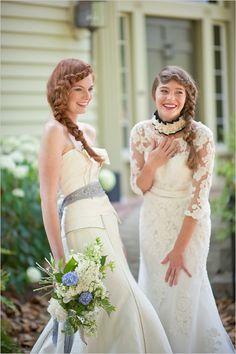 the wedding dress on the right is soooo beautiful.
