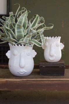 Kalalou Funky White Ceramic Face Planters - Set Of 2