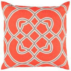 Throw pillow in poppy with a linked medallion motif. Product: PillowConstruction Material: Polyester and linen coverColor: Poppy, elephant gray and parchment Features: Insert included Cleaning and Care: Blot stains