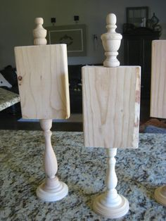 how cute are these...glue wood on top of a candle stick...put a top on and paint... can do 'boo' or 'joy', etc.