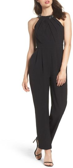 Eliza J Crystal Pleated Neck Jumpsuit (Regular & Petite). Eliza J fashions. I'm an affiliate marketer. When you click on a link or buy from the retailer, I earn a commission.