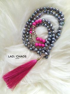 Ketten lang - Kette mit Quaste ★ Süßwasserperlen - ein Designerstück von lady_chaos bei DaWanda