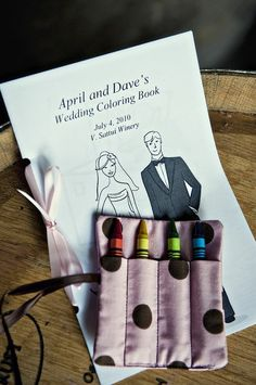 Wedding coloring book for kids during the ceremony. Tremendous idea!