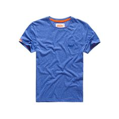 Superdry Pop Grit Pocket T-shirt ($25) ❤ liked on Polyvore featuring men's fashion, men's clothing, men's shirts, men's t-shirts and blue