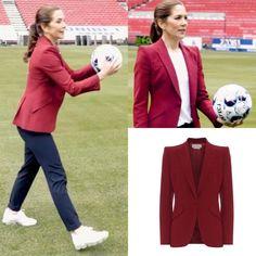 Danish Royal Family, Danish Royals, Crown Princess Mary, Royal Fashion, Football Team, Denmark, Suit Jacket, Blazer, Pants