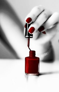 This picture is a good example of emphasis. The nail polish is the main focal point. The picture is in black and white with a pop of red, creating emphasis.