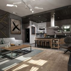 Awesome New York Style Apartment Interior Design With Open Plan Concept - RooHome   Designs & Plans