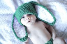 0 to 3m Green newborn bunny beanie hat Easter Costume in white and jade. Handmade with love by Babamoon :)