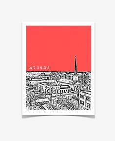 City Skyline print of downtown Athens, Georgia. See more artwork at www.etsy.com/shop/birdAve and more things to do in Georgia at www.discoveramerica.com. ©birdAve