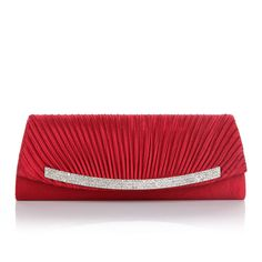 Red Women Lady Satin Rhinestone Evening Clutch Bag Party Wedding HandBag Purse #Unbranded #EveningBag