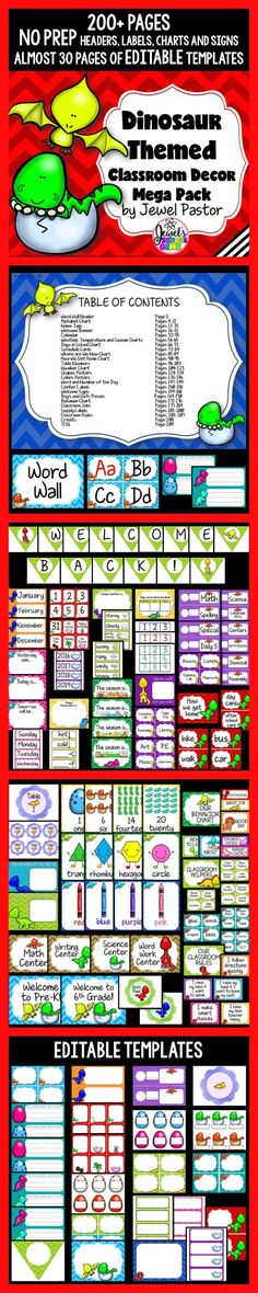Dinosaur Theme ❤ Dinosaur Theme Classroom Decor ❤ Dinosaur Classroom Decor by Jewel Pastor ❤ Welcome your dino-pals to a dinosaur-themed classroom with this Dinosaur Themed Classroom Decor Mega Pack. It comes with 200+ pages of NO PREP HEADERS, LABELS, CHARTS AND SIGNS plus almost 30 pages of EDITABLE PARTS/TEMPLATES. The PowerPoint file comes with blank templates. You can easily insert a text box and type in the text you want or need. Grab it today. ❤ Back to School ❤ Classroom Decor