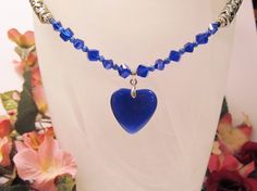 Royal Blue Crystal & Cat's Eye Necklace with by RomanticThoughts, $32.95