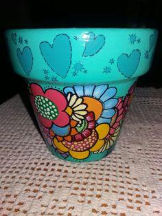 Glass Bottle Crafts, Glass Bottles, Painted Pots, Terracotta Pots, Clay Pots, Terra Cotta, Potted Plants, Flower Pots, Stencils