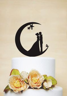 Wedding Cake Topper, Moon and Stars Cake Topper,Acrylic Cake Topper,Bride and Groom Silhouette,Custom Cake Topper P151