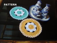 CROCHET PATTERN Crochet Spring Flower Coaster by MyRoseCrochet