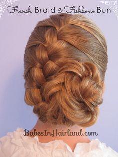 French Braid and Fishbone Bun from BabesInHairland.com   #updo #frenchbraid #fishbonebraid #hairstyles