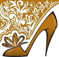 gouden schoenen met hoge hakken op achtergrond met ornament Stockfoto