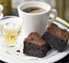 Fudgy Coconut Brownies Recipe, Dense and gooey, these storecupboard treats are made with cocoa rather than bars of chocolate Bbc Good Food Recipes, Sweet Recipes, Baking Recipes, Tea Recipes, Recipes Dinner, Healthy Recipes, Coconut Brownies, Salted Caramel Brownies, Fudgy Brownies