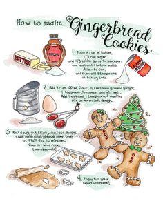 Gingerbread Cookie Recipe Greeting Card 5 x 7 Watercolor How To Make Gingerbread, Gingerbread Cookies, Ginger Bread Cookies Recipe, Cookie Recipes, Fudge Recipes, Pudding Recipes, Recipe Drawing, Illustration Noel, Chocolate Filling