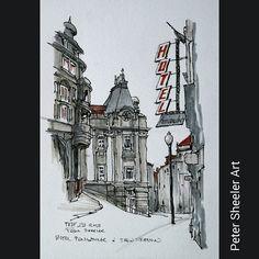 Urban sketch. Peninsular Hotel and  Sao Bento train station painted on location www.ebay.ca/usr/sheelerart . #town #urban #buildings #landscape #street #art #artist #original #watercolor #watercolour #painting #paintingaday #penandink #waterbrush #pleinaire #urbansketch #urbansketchers #urbansketcher #architecture #ink #Porto #portugal