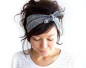 Tie Up Headscarf Grey Tribal