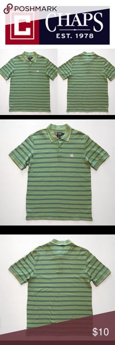 "Classic Chaps Ralph Lauren Big Crest Logo Polo A Classic Chaps By Ralph Lauren Men's Striped Polo, Size Medium, Embroidered Chaps Logo, Green/White And Black Striped Color Scheme. In Great Used Condition With No Tears Or Stains (Please See Photos).  Measurements: AP To AP-20"" Length-29"" Chaps Shirts Polos"