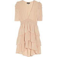 Antik Batik Jana tiered silk-georgette dress ($260) ❤ liked on Polyvore featuring dresses, vestidos, haljine, antik batik, ruched dress, beige dress, rouched dress, shirred dress and puff shoulder dress