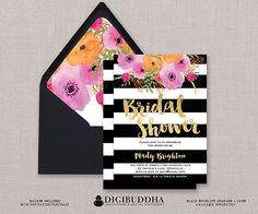 Bridal shower black and white invite