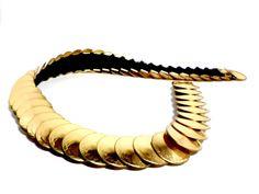 Gold Disk Stretch Belt Round Brass Disks by TheVintagePorch