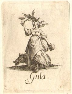 Gluttony: female figure walking to left and holding a goblet in right hand and a wine bottle in left hand; with demon hovering over, and boar at her feet; on white ground. c.1618/25. Jacques Callot