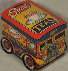 in shape of mobile tea van (food truck) with real wheels, 'Best Quality Teas' sign on the side, 'Special Teas' on top or roof, c. most likely UK Vintage Packaging, Cuppa Tea, Tin Containers, Tea Tins, Tea Caddy, My Cup Of Tea, Vintage Tins, Tin Toys, Tea Accessories