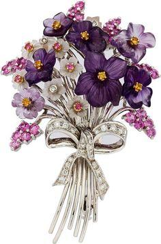 Estate Jewelry:Brooches - Pins, Multi-Stone, Diamond, White Gold Brooch, Santagostino. ...
