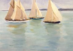Paul Maze (Anglo-French, 1887-1979), Yachts, 1928, oil on canvas.