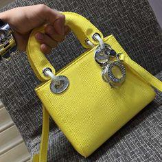 a09f46b687 Dior Bright Yellow/Rose Dragee Be Dior Mini Bag - Spring 2015. See more.  Dior Lady Dior Mini Bag In Calfskin Lizard Pattern Yellow Dior Mini Bag,  Lady Dior