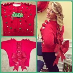 Ugly Christmas Sweaters - Ugly Christmas Sweater - 15 Fun Ugly Christmas Sweaters You Can Easily DIY Homemade Ugly Christmas Sweater, Tacky Christmas Sweater, Christmas Jumpers, Christmas Fun, Diy Christmas Costumes, Christmas Outfits, Christmas Photos, Glamouröse Outfits, Neue Outfits