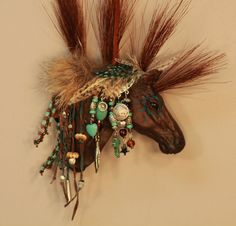Turquoise and feathers...beautiful horse ornament for a Cowboy Christmas theme