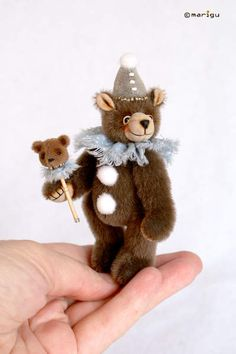 Buffoon-bear Bon-Bon By Maria Guyda - Bear Pile Miniatures, Pastel, Wool, Christmas Ornaments, Teddy Bears, Holiday Decor, Artist, Handmade, Painting